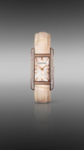 Burberry Nude female pink gold watch with diamonds Limited Edition