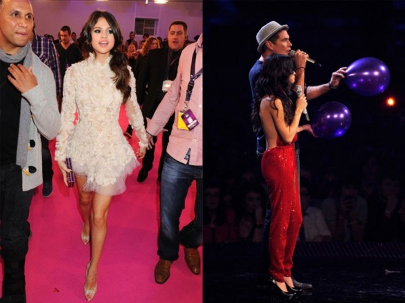 Selena Gomez in the show of the MTV Europe Music Awards 2011